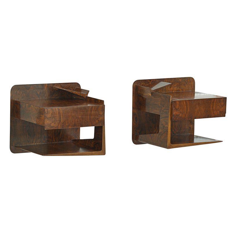 Ico and Luisa Parisi; Figured Walnut Wall-Mounted Nightstands for Singer and Sons, 1950s.