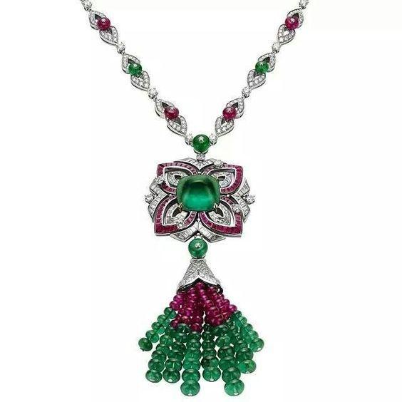 By Bulgari. Bridelan - Personal shopper & style consultants for Indian/NRI weddings, website www.bridelan.com #bulgari #tasselearrings #emeralds #diamondjewellery #weddingjewellery #cocktailjewellery #bridelan #bridelanindia