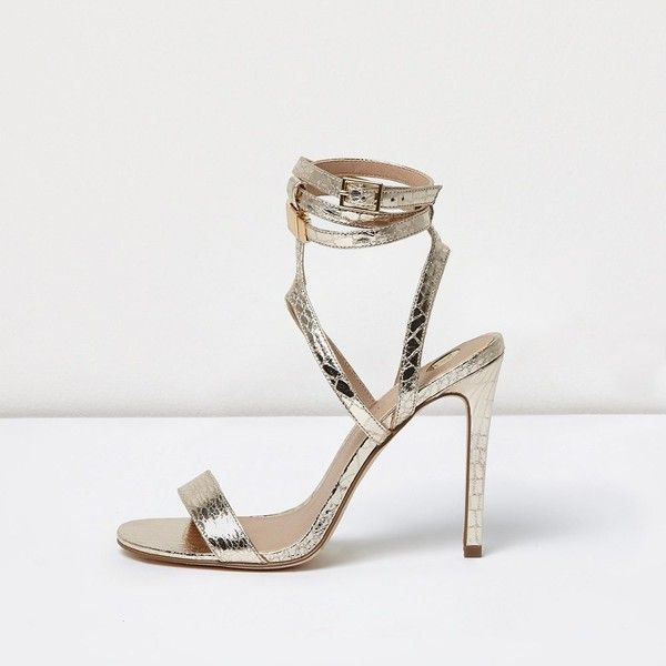 518a40a27675 River Island Gold wide fit metallic caged strappy sandals ( 80) ❤ liked on  Polyvore featuring shoes