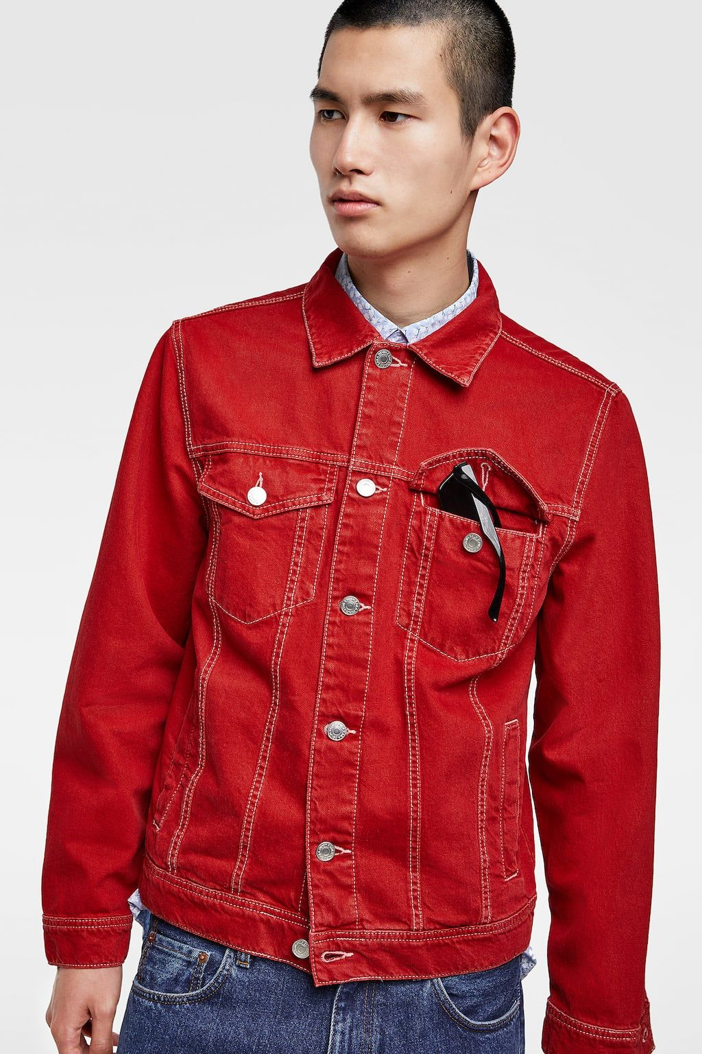 Denim jacket with topstitching Jackets, Denim, Leather