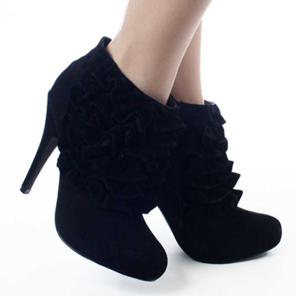 Black Dress Women's High Heel Platform Ankle Boots Footwear ...