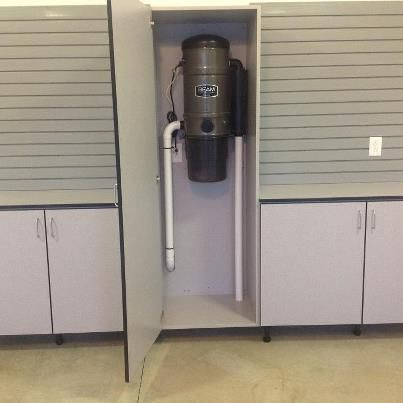 Central Vac System Concealed In A Garage Cabinet By Designs Of St Louis