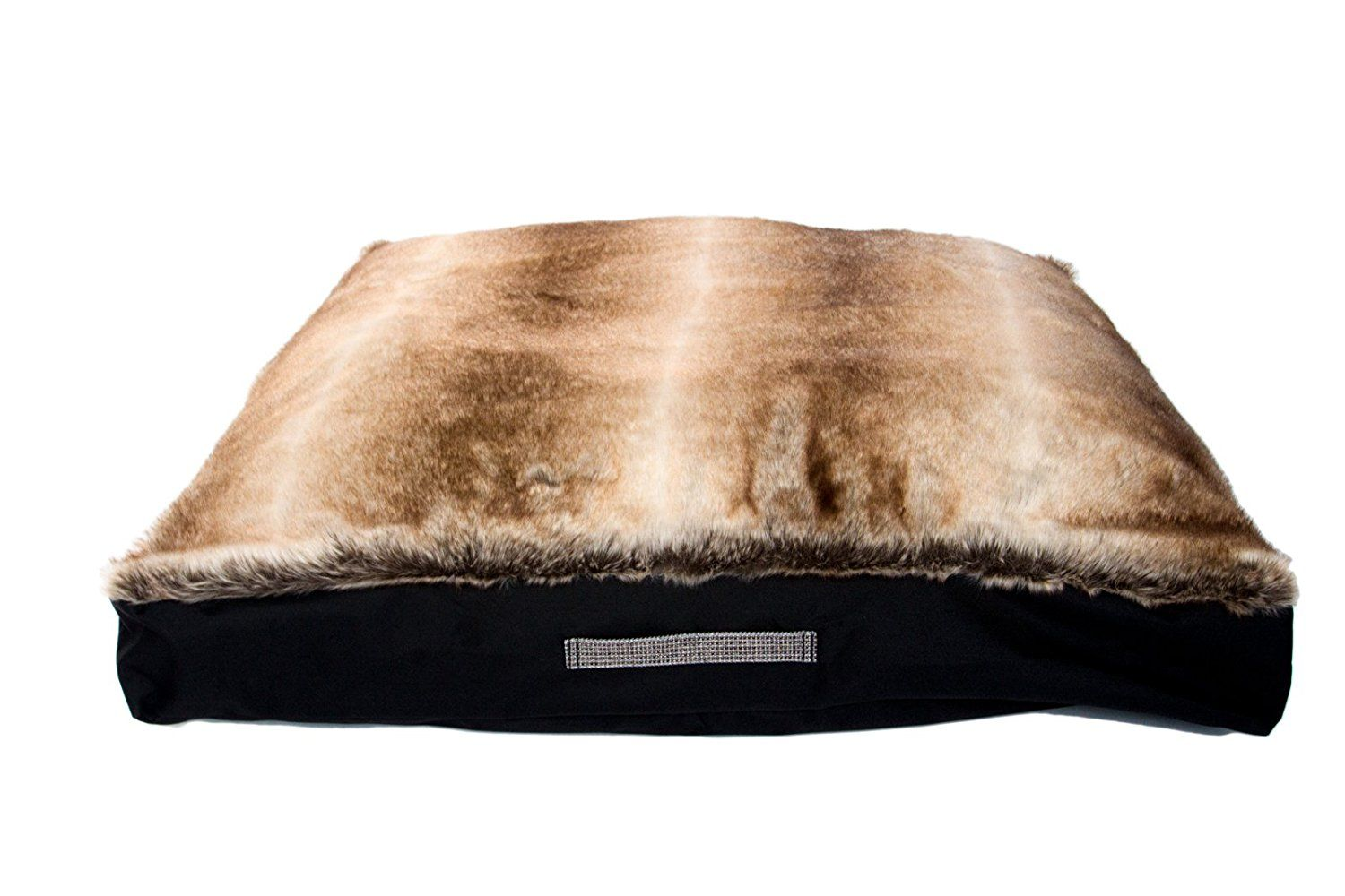 Dog Bed Luxurious Faux Fur, Brown Shell, Washable, Durable
