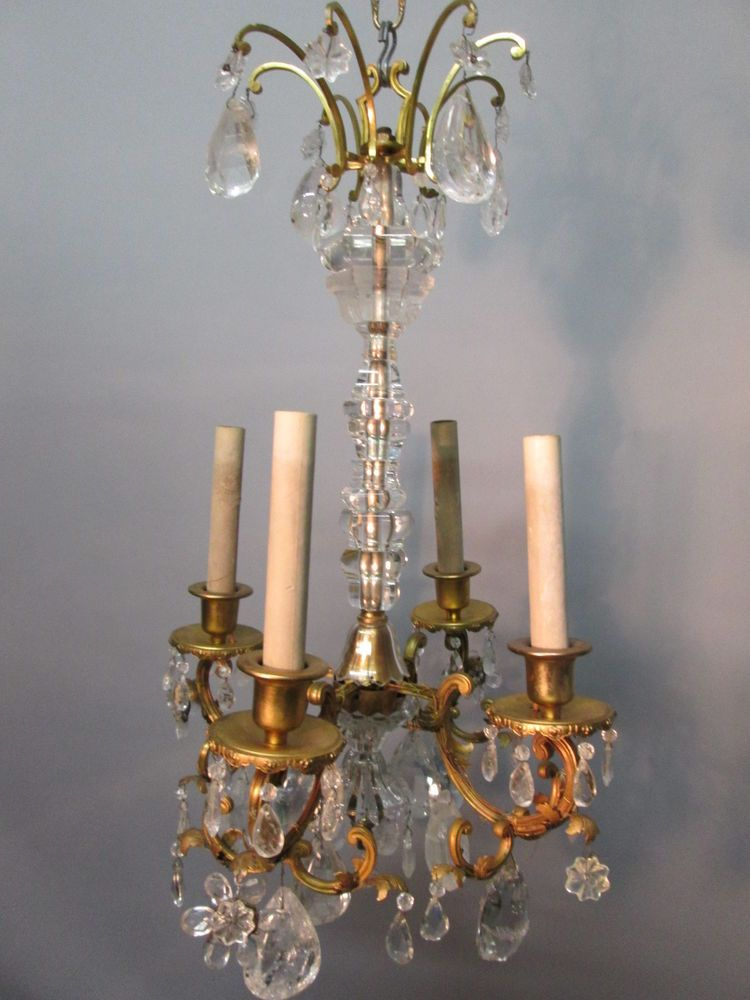 Antique S Rock Crystal French Bronze Chandelier Bagues Style - Long chandelier crystals