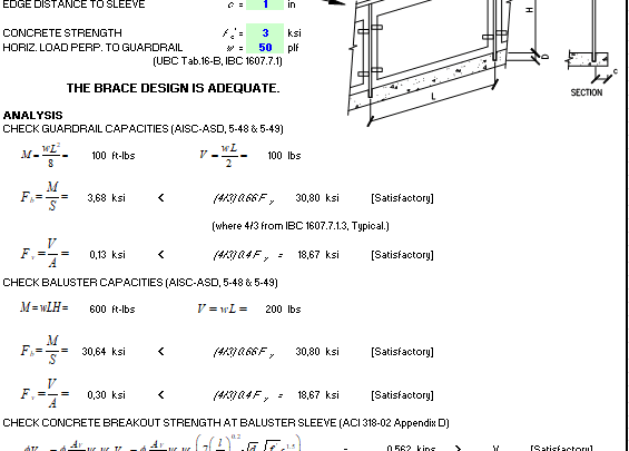 Guardrail Design Based On Aisc Asd And Aci 318 02 Spreadsheet In 2020 Spreadsheet Engineering Asd