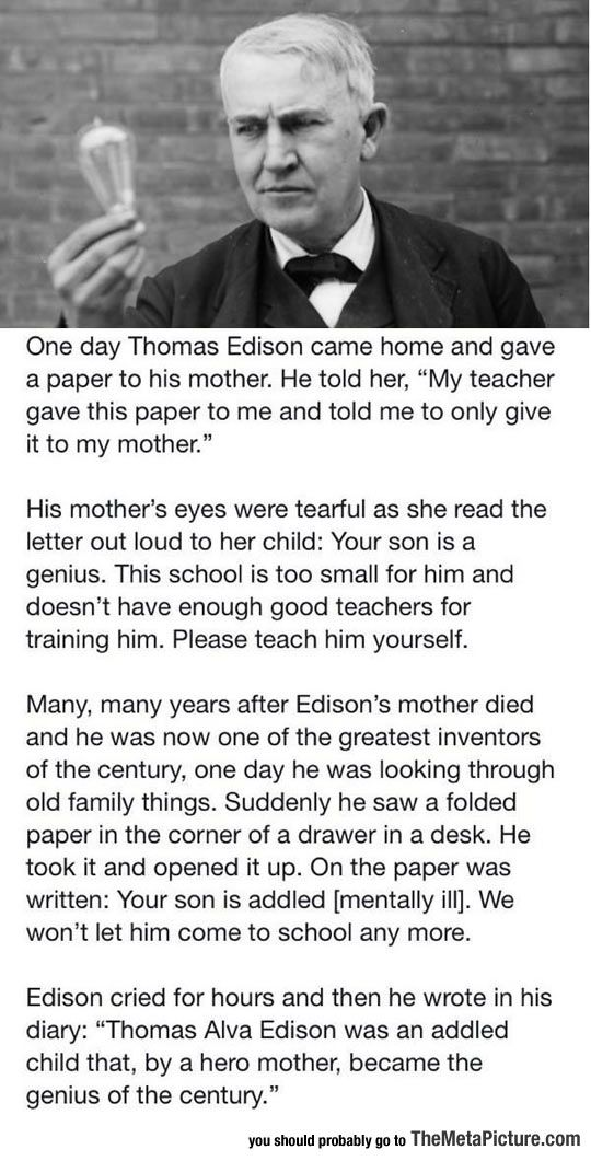 7574669b32bf15911f42c3207e6689ff - Thomas Edison, his Mom, and the Letter - Facts and Trivia