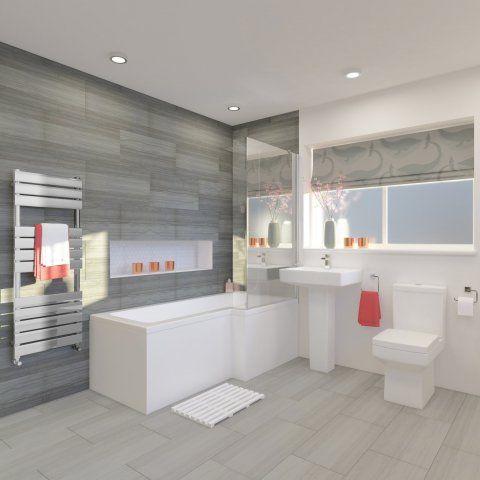 1700x850mm Belfort Shower Bath Suite - L Shaped Right Handed ...