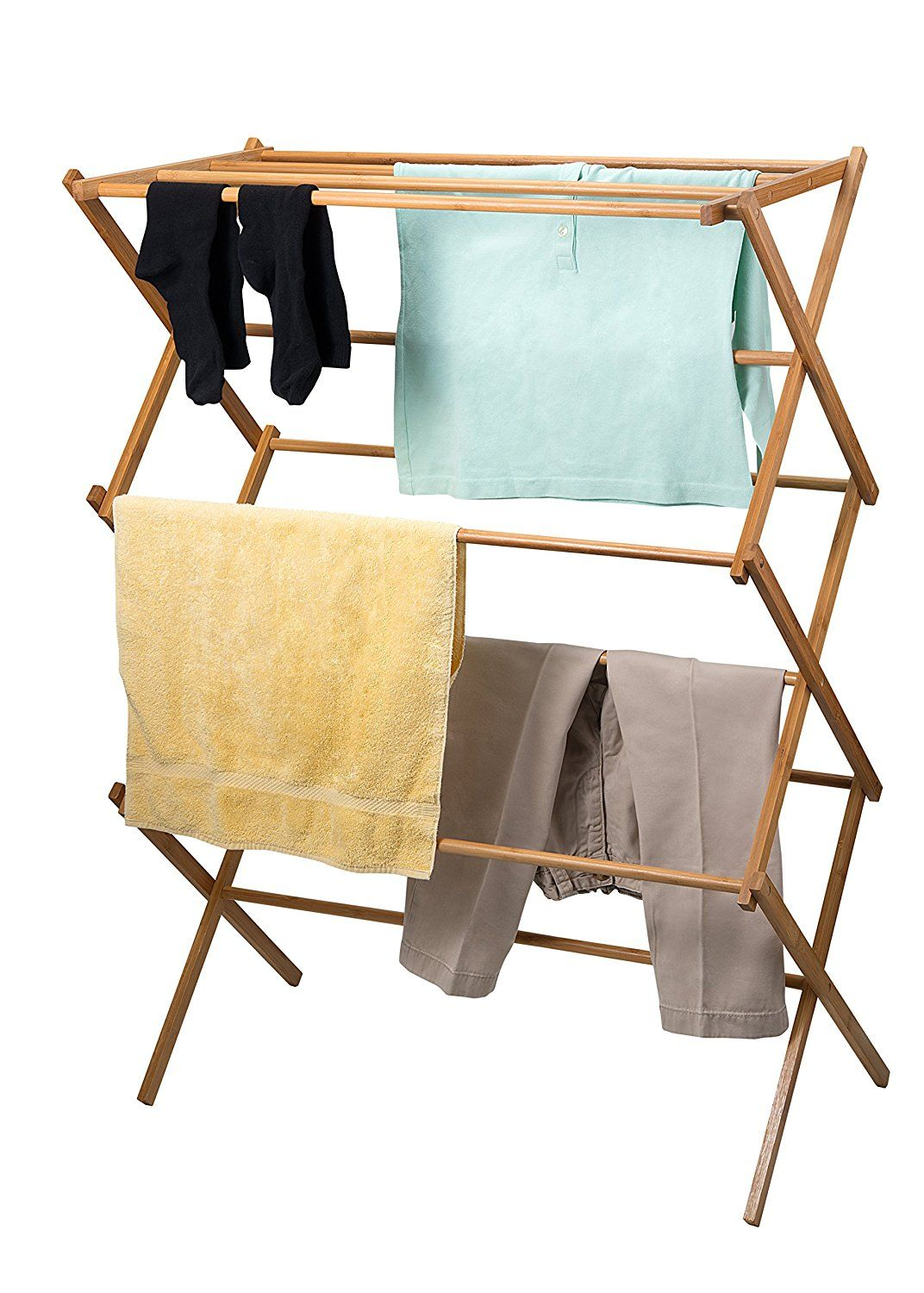 Amazon Com Home It Clothes Drying Rack Bamboo Wooden Clothes Rack Super Quality Cloth Drying St Wooden Clothes Rack Clothes Drying Racks Portable Clothes Rack