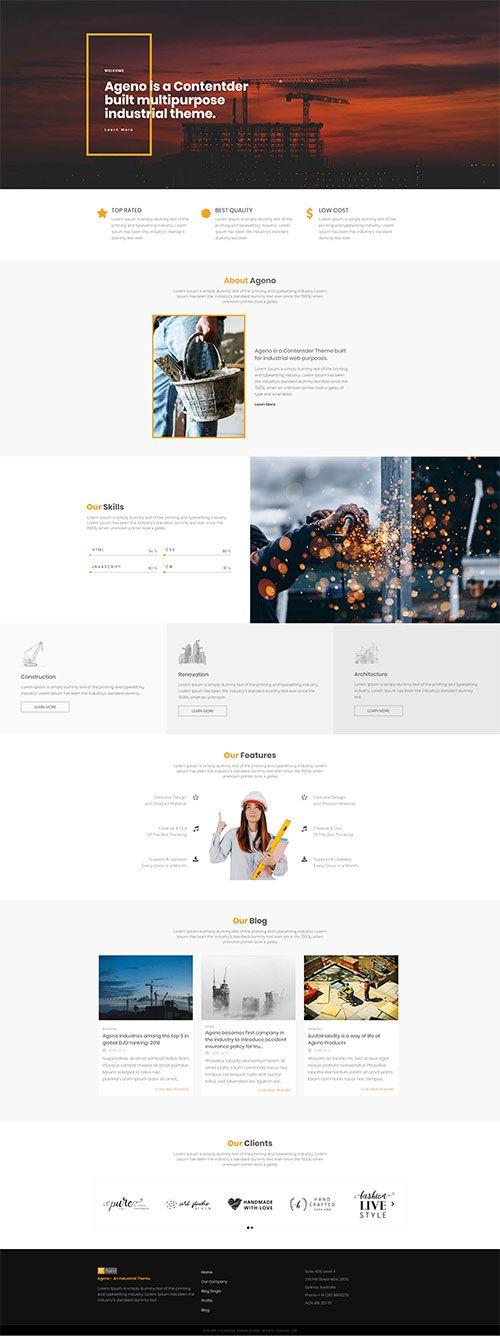 Industrial Website Design Create Awesome Website Using Contentder Professional Web De Professional Web Design Professional Website Templates Website Design