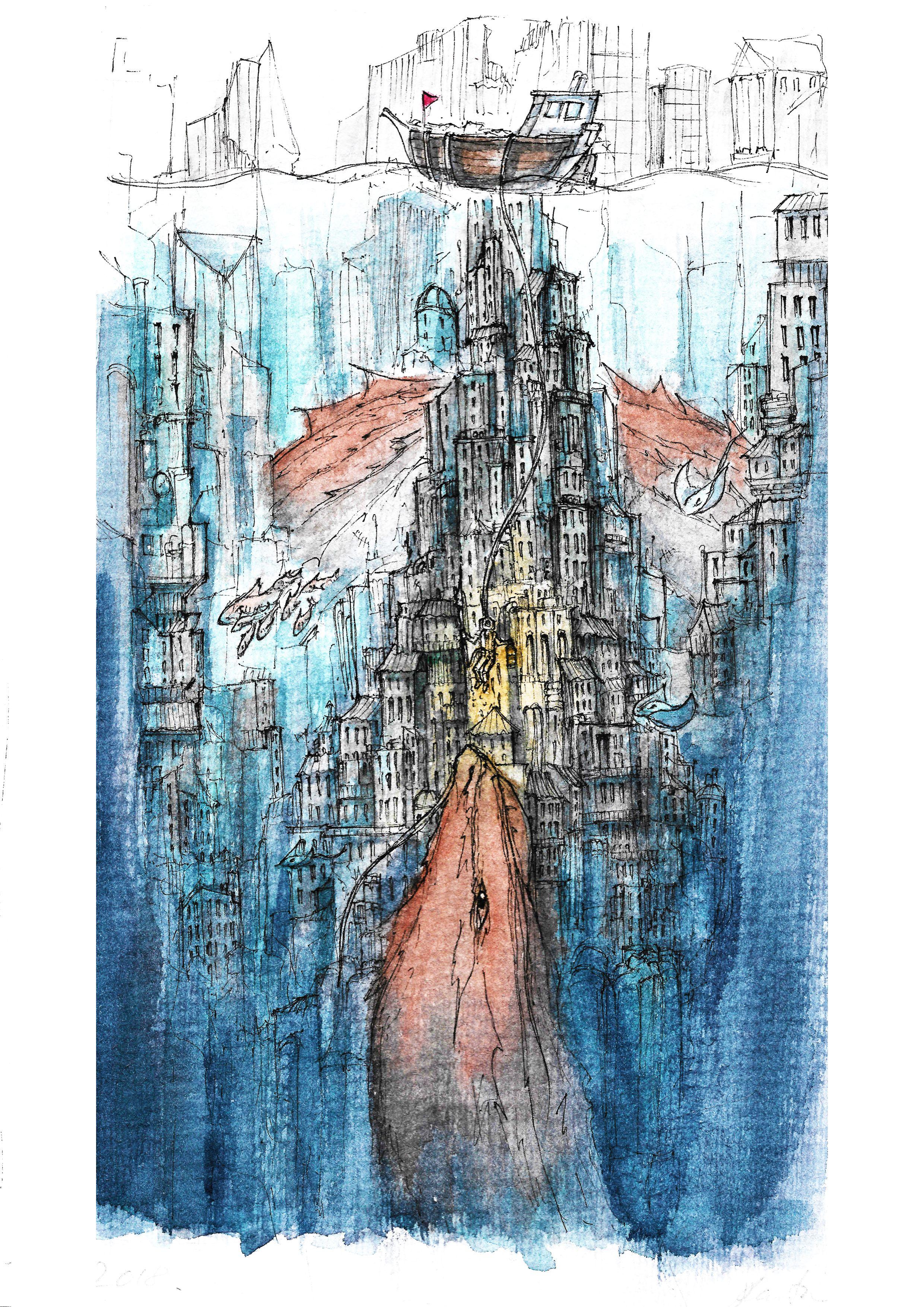 The Deep Giclee Print Ink Drawing Watercolor Art Underwater