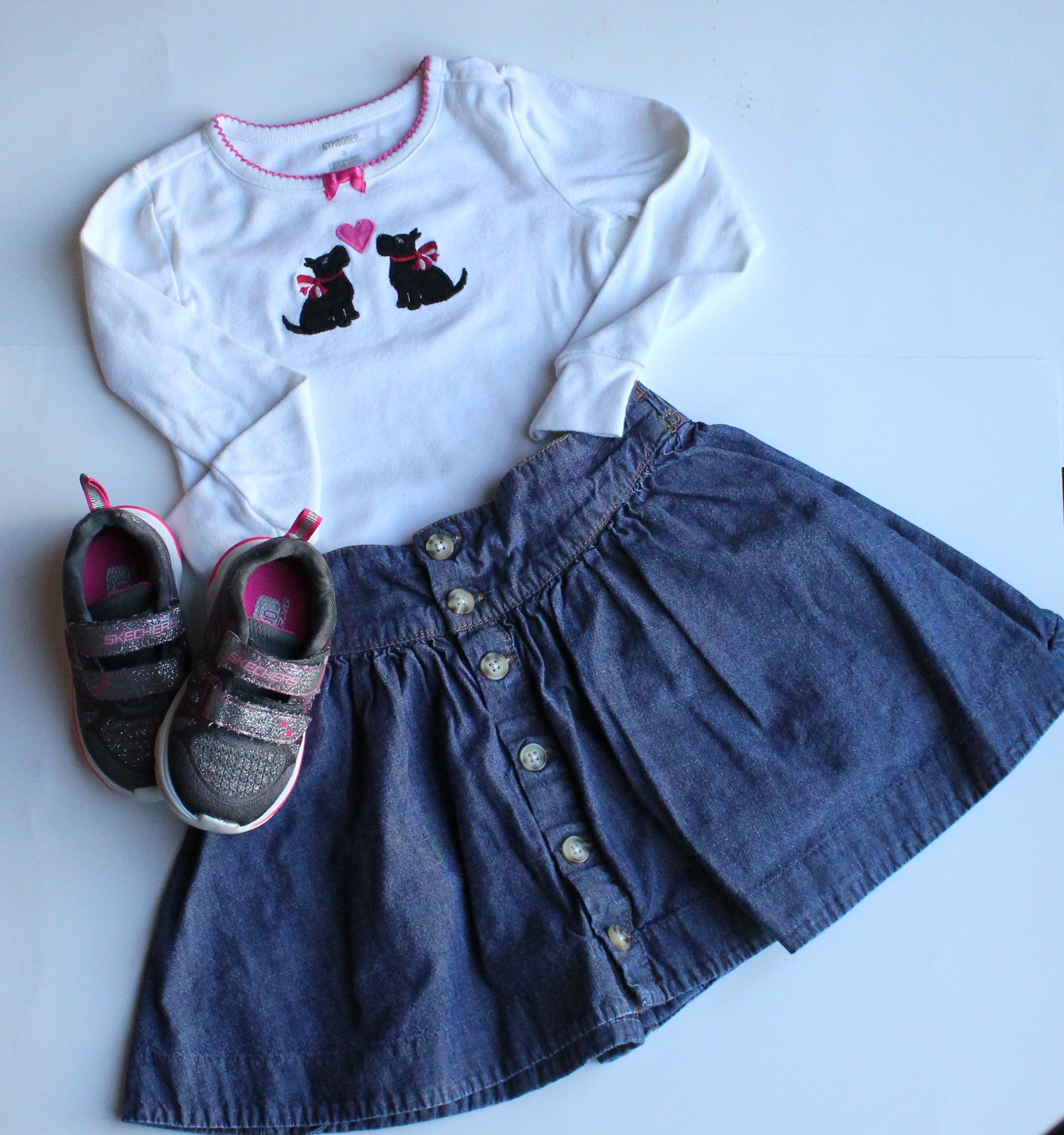 Skirt by Osh Kosh Skechers Shoes and Top by Gymboree All items for