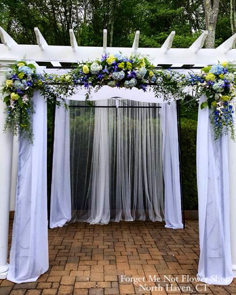 Pergola decorated with fabric and floral arrangements for a wedding  ceremony. By Forget Me Not - Pergola Decorated With Fabric And Floral Arrangements For A Wedding