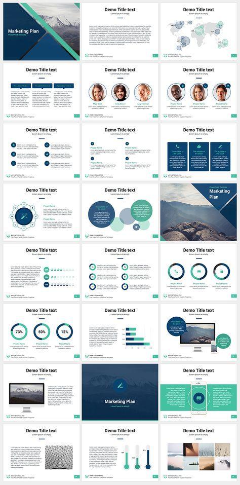 Marketing Plan free PowerPoint template Design Pinterest