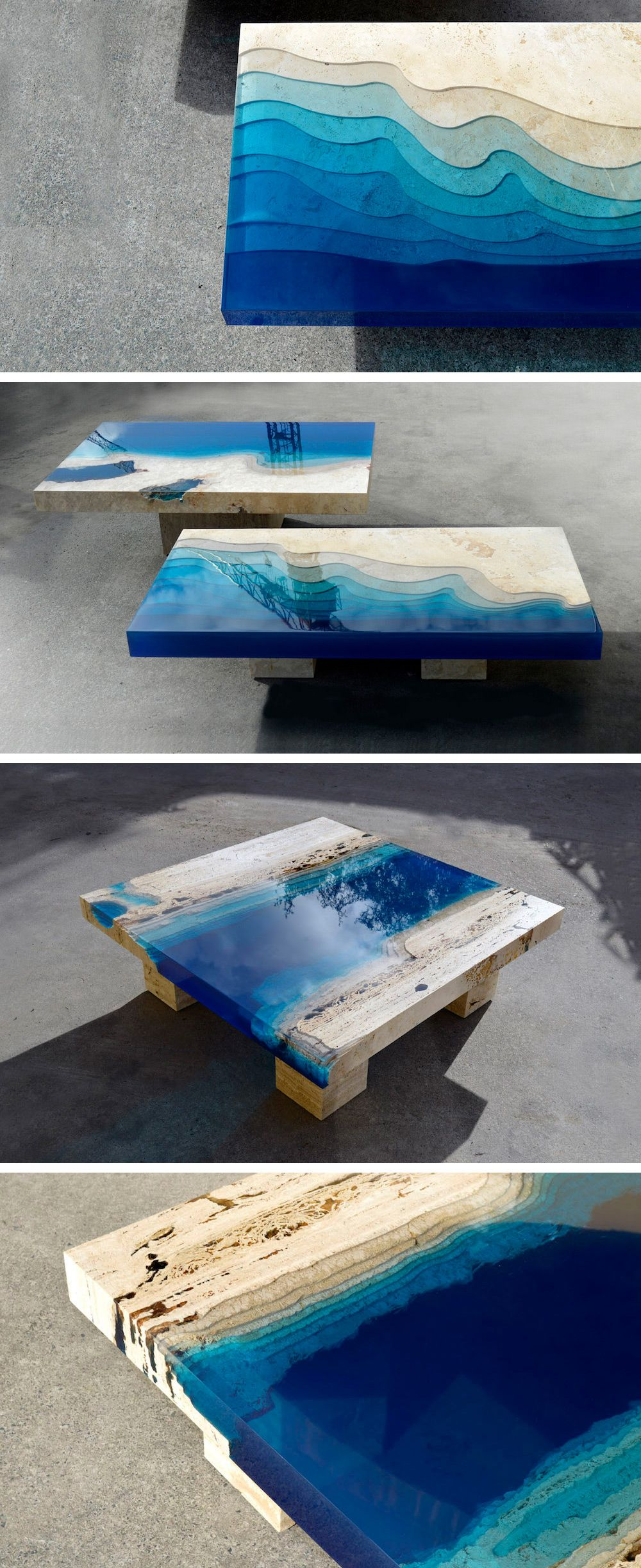 New marble and resin lagoon coffee tables by alexandre for Design tischplatte