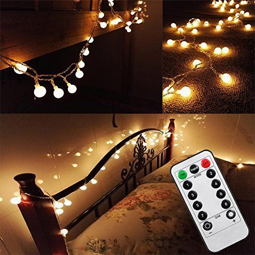 [Updated Version] Bedroom Wedding 16 Feet 50leds LED Globe String Lights Battery Powered with Remote Timer Outdoor/Indoor Ambient Lighting for Garden ... & Updated Version] Bedroom Wedding 16 Feet 50leds LED Globe String ...