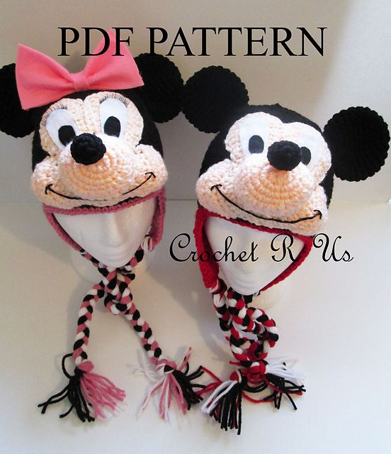 Ravelry: PDF...Crochet Minnie Mouse & Mickey Mouse hat pattern ...