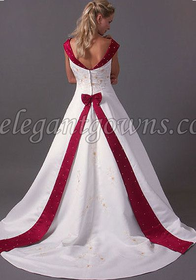 Red and white wedding dresses for cheap
