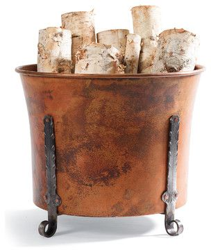 Copper Log Holder traditional fireplace accessories