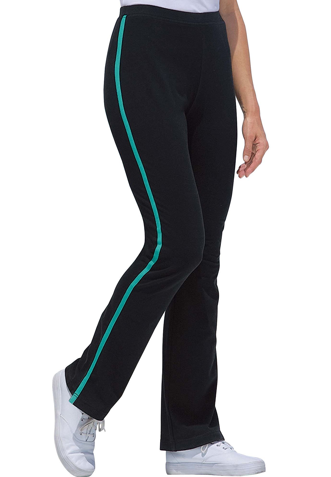 6717a6eea56 Stretch Cotton Side-Striped Bootcut Yoga Pant - Women s Plus Size Clothing