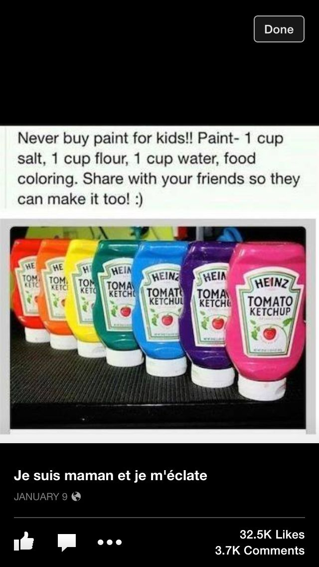 Homemade children's paints: 1 cup salt 1 cup flour 1 cup water Food colouring