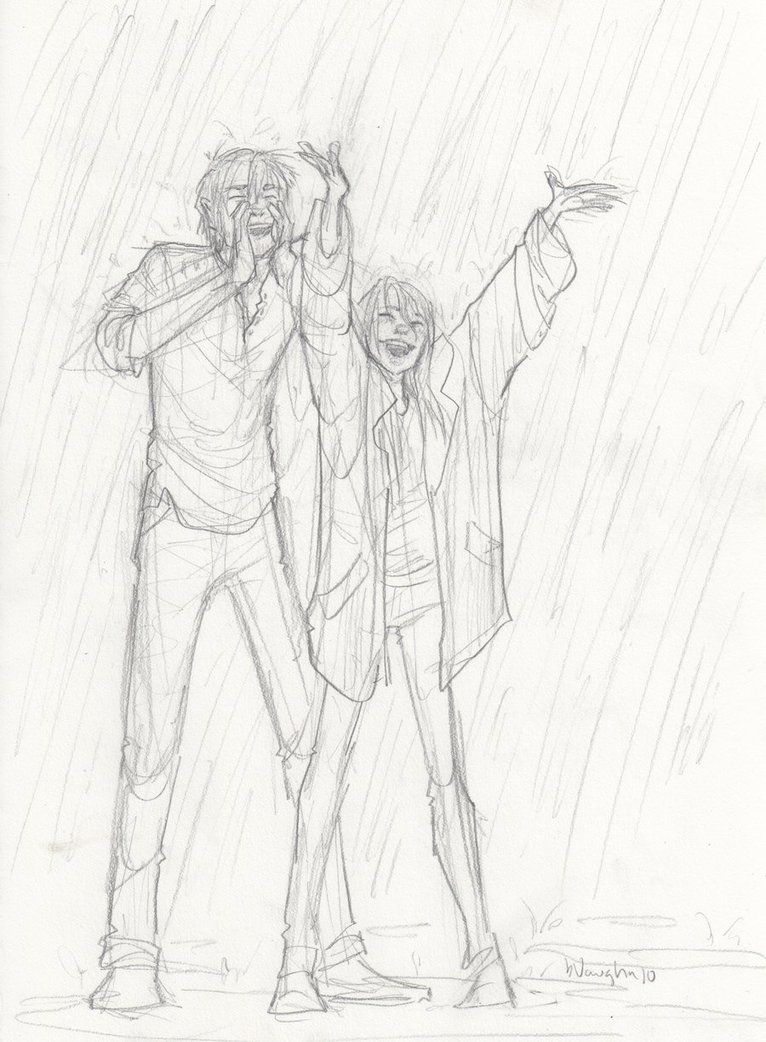 This is why they shouldn't be left unsupervised... Derek and Ciana in the rain, howling at the moon
