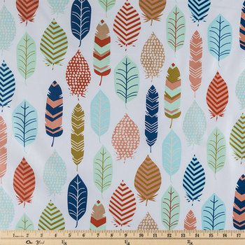 Spa and Coral Feathers fabric Fat Quarter 1/2 yard by fabricgirls