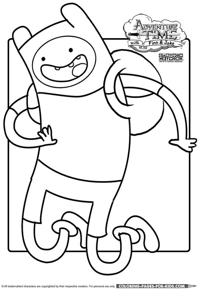 adventure time finn the human coloring page for kids to print