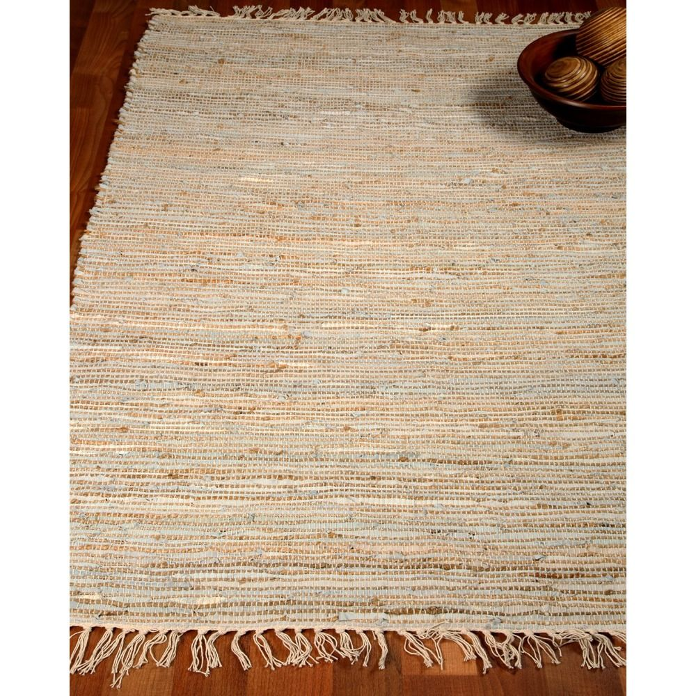 Natural Area Rugs Hand Woven Brilliance Jute Leather Rug 8 X 10