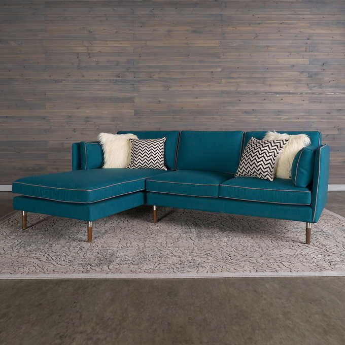 Surprising 2599 Portofino Home Jax Teal Fabric Sofa With Left Hand Cjindustries Chair Design For Home Cjindustriesco