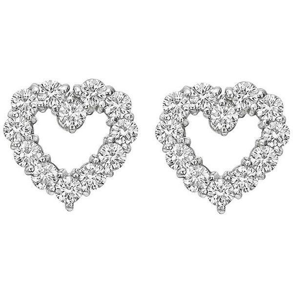 Pre-owned Tiffany & Co. Diamond Platinum Open Heart Earstuds