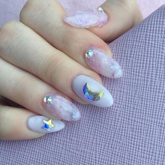 Whimsical Celestial Nail Art Ideas for Collection 2019 #koreannailart