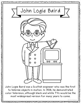 john logie baird coloring page craft or poster stem technology history
