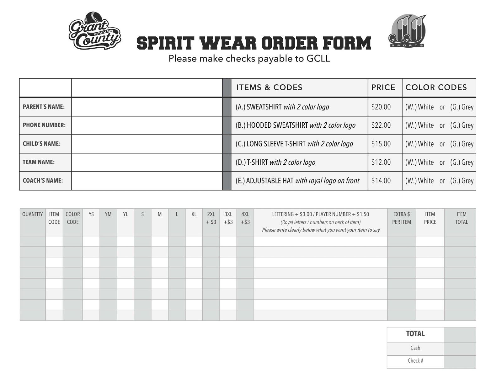 Sample Spirit Wear Order Form Template Free Templates