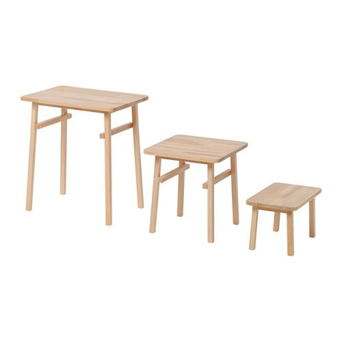 Ikea Ypperlig Nesting Tables Set Of 3 Solid Beech Is A Durable Natural Material Can Be Used Individually Or Pushed Together To Save E
