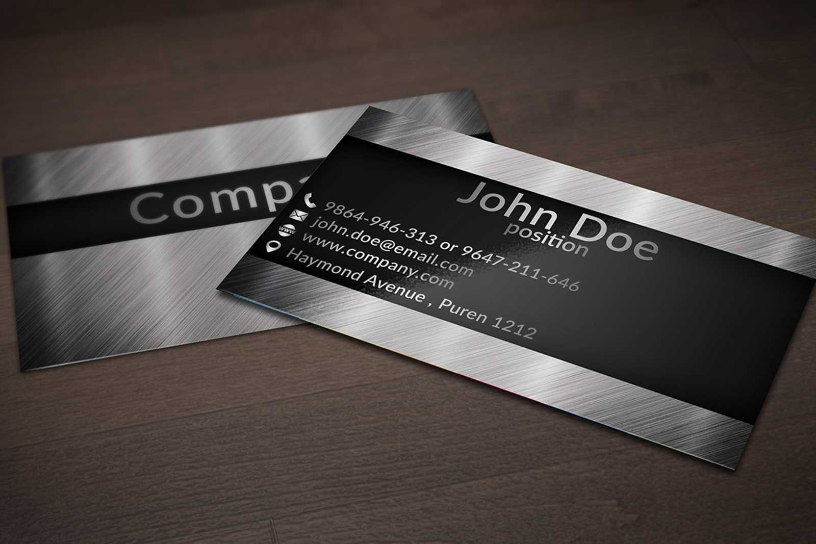 Creative business card design on brushed metal background suitable ...