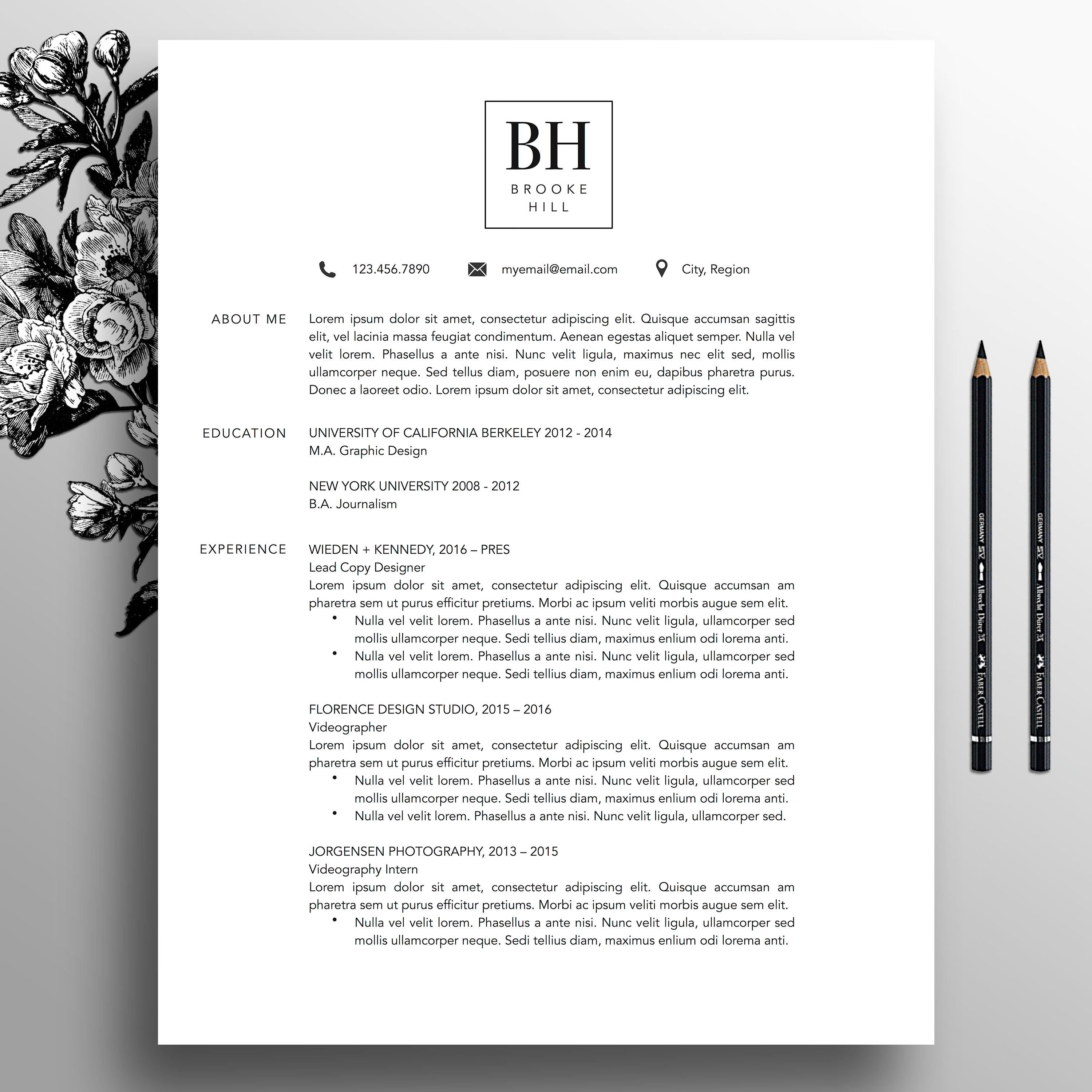 modern resume template professional cv template  ms word