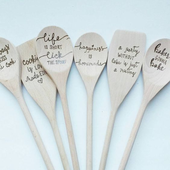 Wood Burned Spoons Kitchen Custom Wooden Spoon Gifts For Her With Sayings Gift Christmas Wedding These Will Make