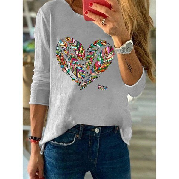 Women's Fashion Heart Printed Shirts Long-Sleeved