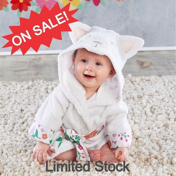 CLOSE OUT Cat Hooded Bath Robe for Babies Hooded K