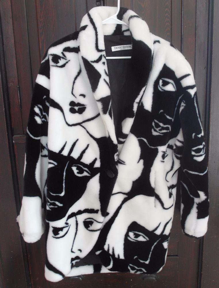 Vtg Donnybrook Black White Faces Faux Fur Coat Large Black And White Face Fur Coat Faux Fur Coat