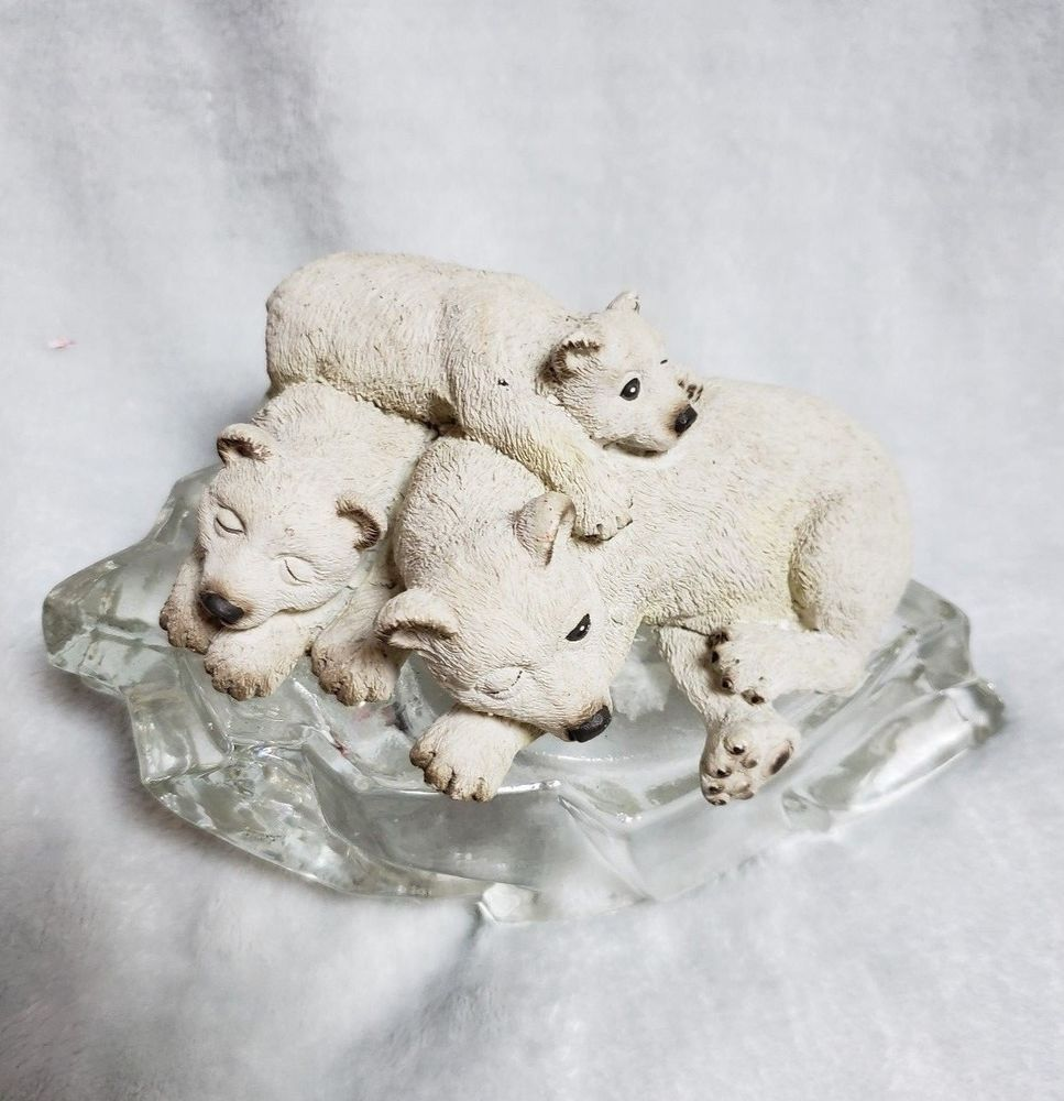 Details about Polar Bear Family Sleeping on Ice Sculpture Figurine ...
