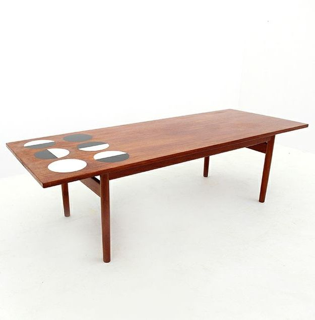 Grete Jalk; Teak Coffee Table with Laminate Inlay for Poul ...