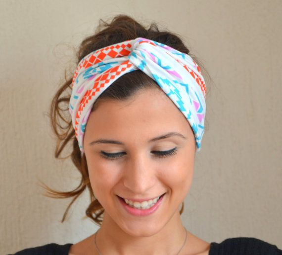 aztec tribal patterned headband - aztec tribal stretchy cotton jersey  headband yoga headband ear warmer birthday gifts valentines day gifts on  Etsy f5e296cffcd