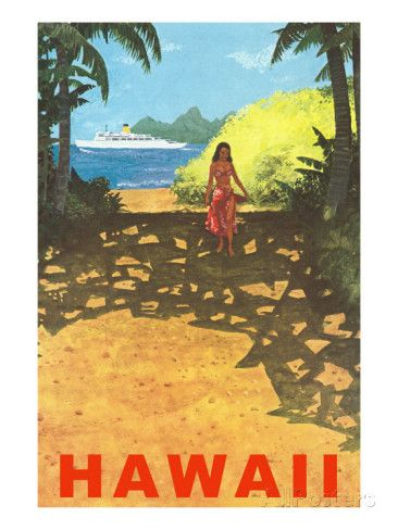 Hawaii Cruise Liner Girl On Beach Path Poster Travel Posters Hawaii Art Print Vintage Travel Posters