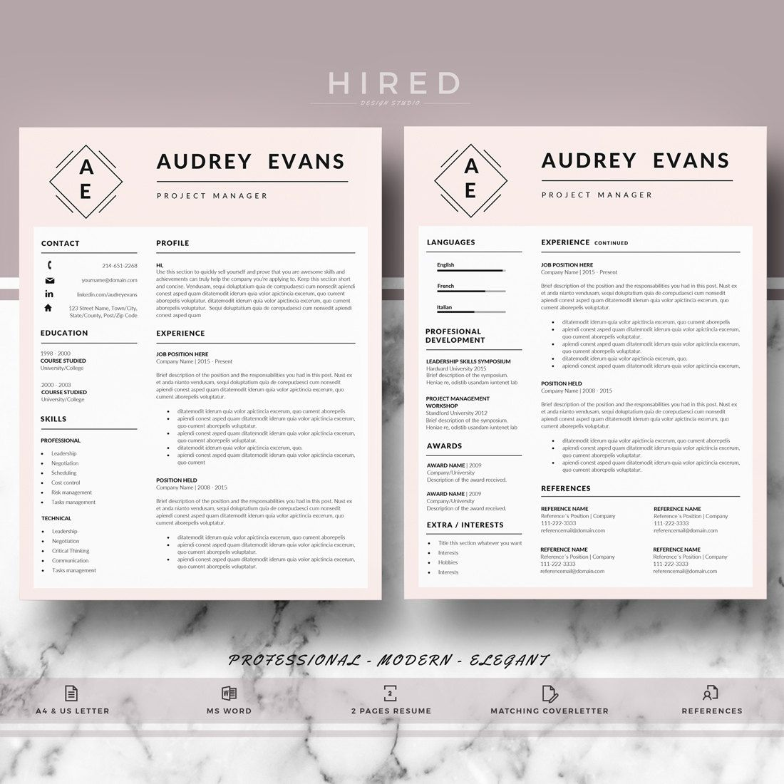 Professional  Creative Resume Template For Word Audrey