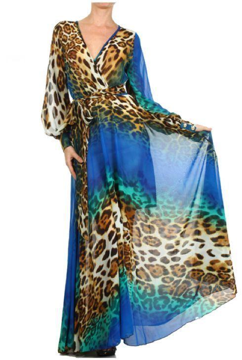 3677fd4214b BLUE Leopard FULL SWEEP Chiffon MAXI DRESS Gown SHEER Long Skirt Cruise  Party  tamarstreasuresgeneric  Maxi  Cocktail