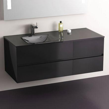 Glass, Meuble salle de bain Blanc 120 cm, 4 tiroirs, plan verre - salle de bain meuble noir