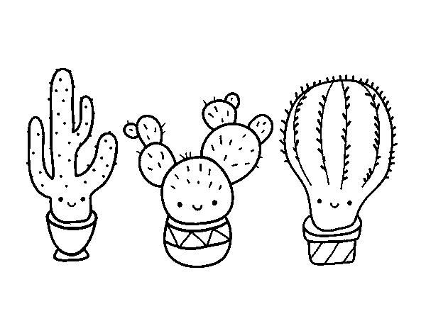 пару милые картинки кактусов черно белые фон