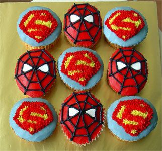 CupcakesSupermanSpiderm Cake Boy cakes and Foods