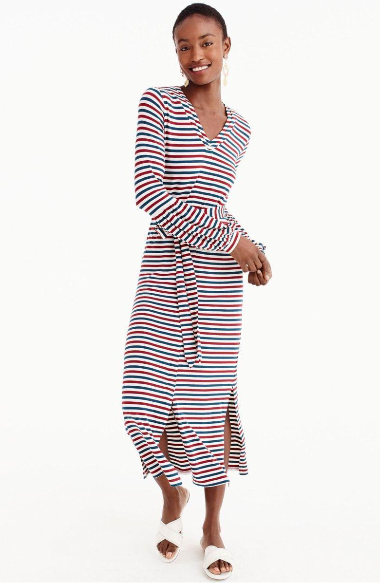 8d0ecee193 for J.Crew Bubble Sleeve Jersey Maxi Dress, Main, color, Blue/Tomato/White  Stripe